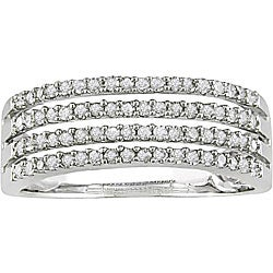 Miadora 10k White Gold 3/8ct TDW Diamond 4-row Ring (I-J, I2-I3)