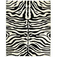 Safavieh Handmade Soho Zebra Print Charcoal/Beige  N. Z. Wool Rug - 5' x 8'