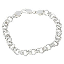Sterling Essentials Sterling Silver 7-inch Classic Charm Bracelet (9mm)