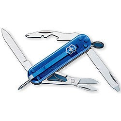 Swiss Army 'Manager' 10-tool Translucent Sapphire Pocket Knife - Thumbnail 0