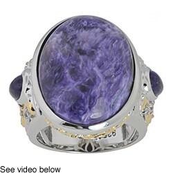 Michael Valitutti Palladium Silver Charoite Ring
