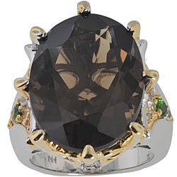Michael Valitutti Palladium Silver Smokey Quartz/ Sapphire Ring