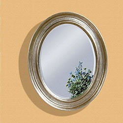 Silver Leaf Oval Bevelled Mirror