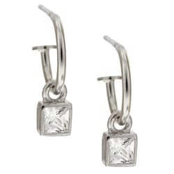 Sterling Essentials Sterling Silver Square CZ Charm Hoop Earrings