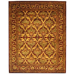 Safavieh Handmade Kerman Wine/ Gold Wool Rug (9'6 x 13'6)