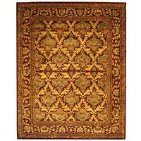 Safavieh Handmade Kerman Wine/ Gold Wool Rug - 9'6 x 13'6