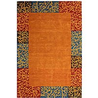 Safavieh Handmade Rodeo Drive Autumn Border Red/ Blue Wool Rug - 7'6' x 9'6'