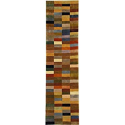 Safavieh Handmade Rodeo Drive Modern Abstract Multicolored Wool Runner Rug (2'6 x 10')