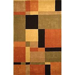 "Safavieh Handmade Rodeo Drive Modern Abstract Rust/ Multi Wool Rug (7' 6"" x 9' 6"")"