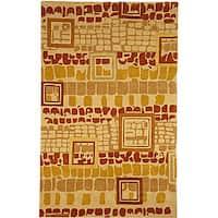 Safavieh Handmade Rodeo Drive Modern Abstract Beige/ Rust Wool Rug - 7'6' x 9'6'