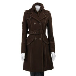 J Lo Women's Double-breasted Wool Blend Trench Coat - Thumbnail 0