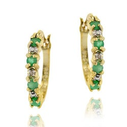 Glitzy Rocks 18k Gold/ Sterling Silver Emerald Hoop Earrings