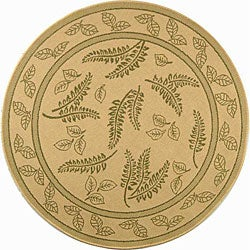 Safavieh Ferns Natural/ Olive Green Indoor/ Outdoor Rug (6'7 Round)