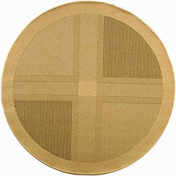"Safavieh Lakeview Natural/ Olive Green Indoor/ Outdoor Rug - 6'7"" x 6'7"" round - Thumbnail 0"
