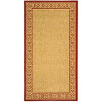 Safavieh Oceanview Natural/ Red Indoor/ Outdoor Rug - 8' x 11'