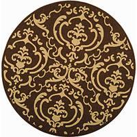 "Safavieh Bimini Damask Chocolate/ Natural Indoor/ Outdoor Rug - 5'3"" x 5'3"" round"
