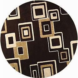 Safavieh Handmade Soho Gala Modern Abstract Brown/ Beige Wool Rug (8' Round)