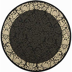 Safavieh Kaii Damask Black/ Sand Indoor/ Outdoor Rug (5'3 Round)