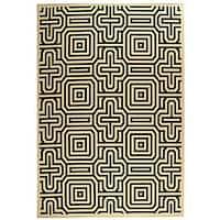 Safavieh Matrix Sand/ Black Indoor/ Outdoor Rug - 6'7 x 9'6