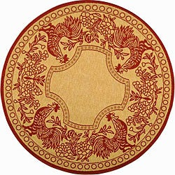 Safavieh Indoor/ Outdoor Rooster Natural/ Red Rug (6'7 Round)