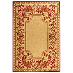 Safavieh Indoor/ Outdoor Rooster Natural/ Red Rug (5'3 x 7'7)