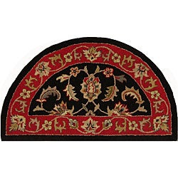 Shapes Black Half-round Wool Rug (2'3 x 3'10)