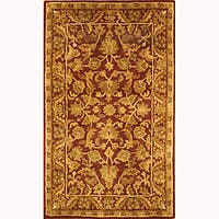 Safavieh Handmade Exquisite Wine/ Gold Wool Runner Rug