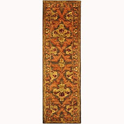 Safavieh Handmade Kerman Sage/ Gold Wool Runner (2'3 x 8')