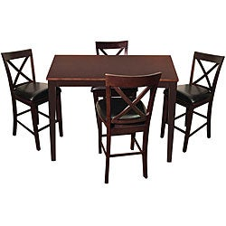 Madison Espresso 5 Piece Counter Height Dining Set Free