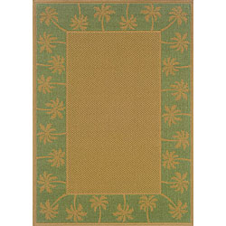 StyleHaven Palm Borders Beige/Green Indoor-Outdoor Area Rug (7'3x10'6) - Thumbnail 0