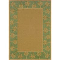 StyleHaven Palm Borders Beige/Green Indoor-Outdoor Area Rug (7'3x10'6)
