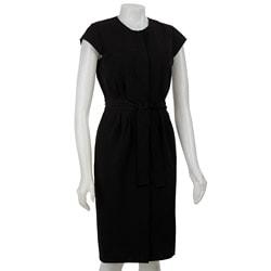 Thumbnail 1, Calvin Klein Women's Black Snap-front Cap Sleeve Dress.