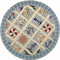 Safavieh Hand-hooked Sailor Ivory Wool Rug - 4' x 4' Round