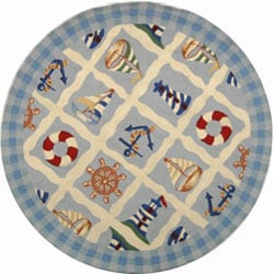 Safavieh Hand-hooked Sailor Ivory Wool Rug (5' 6 x 5' 6 Round) - 5'6 - Thumbnail 0