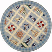 "Safavieh Hand-hooked Sailor Ivory Wool Rug - 5'6"" x 5'6"" round"