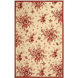 Safavieh Hand-hooked Flov Ivory/ Rose Wool Rug - 6' x 9' - Thumbnail 0