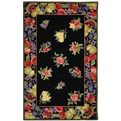 Safavieh Hand-hooked Fruit Harvest Black Wool Runner (2'6 x 4')