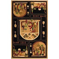Safavieh Hand-hooked Winery Black/ Multi Wool Rug (8'9 x 11'9)