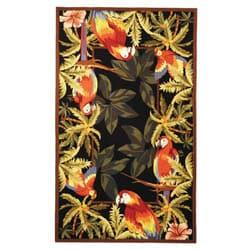 Safavieh Hand-hooked Parrots Black Wool Rug (8'9 x 11'9)