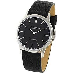 Stuhrling Original Unisex Newberry Black Leather Strap Watch