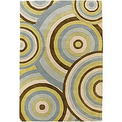 Thumbnail 1, Hand-tufted 'Pixel' Circles New Zealand Wool Rug (7'9 Round).