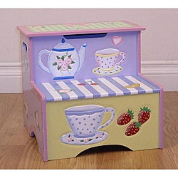 Tea Party Kids Storage Step Stool