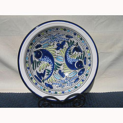 12-inch Aqua Fish Small Serving Bowl (Tunesia)