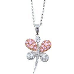 Sterling Essentials Sterling Silver Pink and Clear CZ Butterfly Necklace