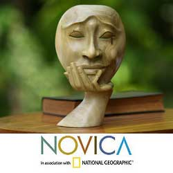Wood 'A Man in Thought' Sculpture, Handmade in Indonesia