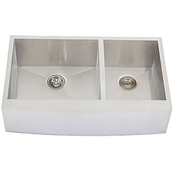 Ticor 4411BG 36-inch 16-gauge Curved Front Double Bowl Stainless Steel Undermount Apron Kitchen Sink