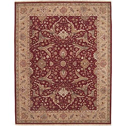 Nourison Hand-knotted Ancestry Red Wool Rug (7' x 9') - Thumbnail 0