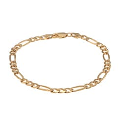 Sterling Essentials 14K Gold over Silver 8-inch Diamond-cut Figaro Bracelet