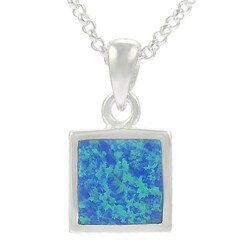 Journee Collection Sterling Silver with Blue Opal Square Necklace