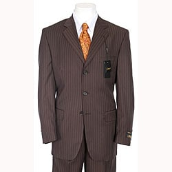 Ferrecci men 39 s chocolate brown pinstripe suit free for Mens chocolate brown shirt